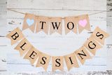 Pink & Blue Two Blessings Banner | Twin Baby Shower or Gender Reveal Party Decor