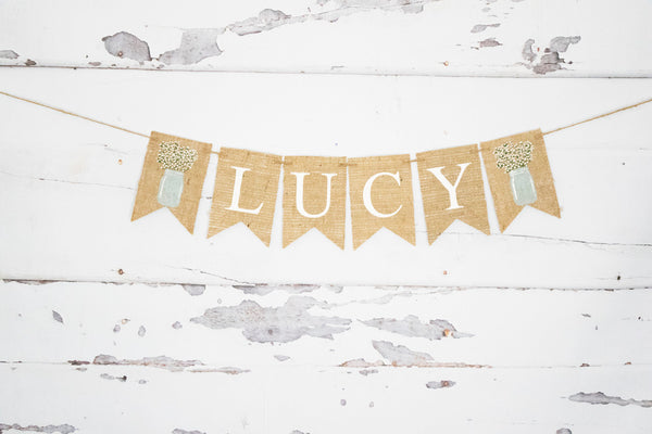 Floral Mason Jar Decor, Personalized Banner