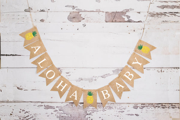 Aloha Baby Pineapple Banner | Tropical Luau Hawaiian Baby Shower Decor