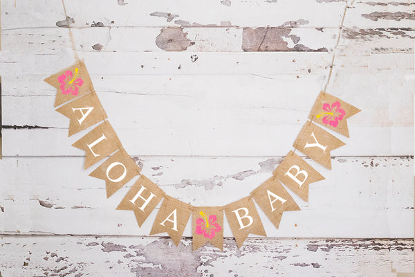 Aloha Baby Hibiscus Banner | Tropical Luau Hawaiian Baby Shower Decor