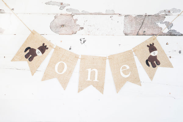 Horse One Banner | Farm First Birthday Party Decor