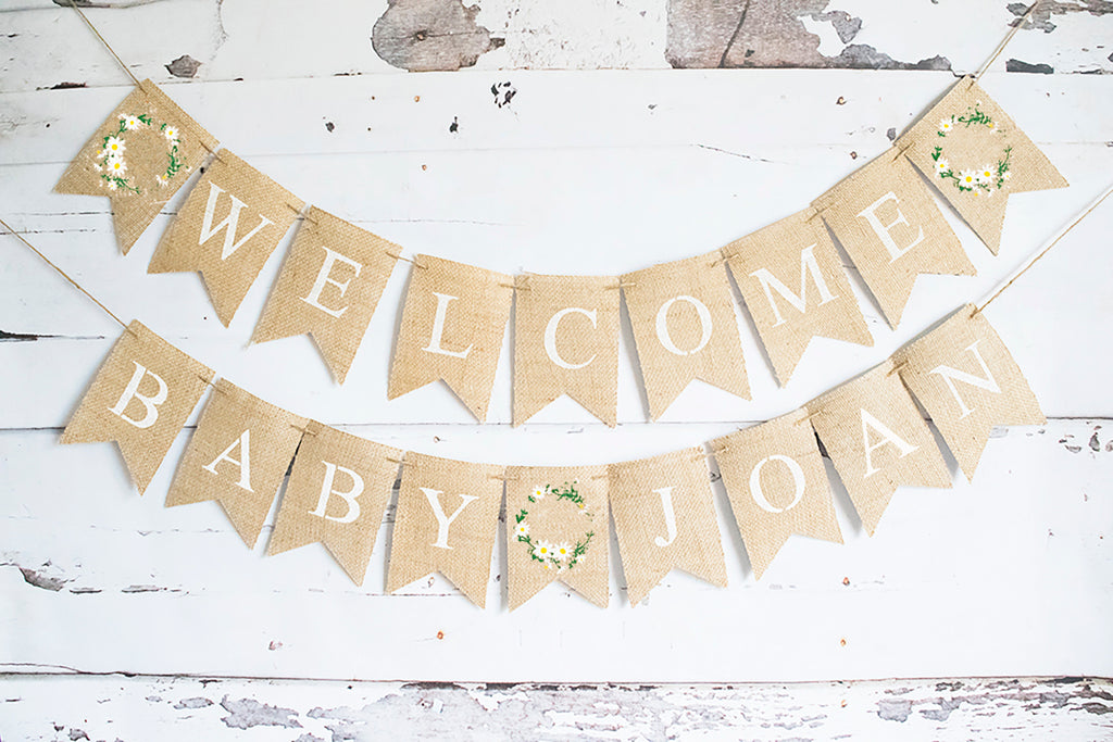 Floral Wreath Welcome Baby Personalized Banner | Flower Baby Shower or Gender Reveal Party Decor