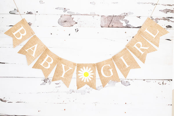 Daisy Personalized Baby Banner | Flower or Floral Baby Shower Decor