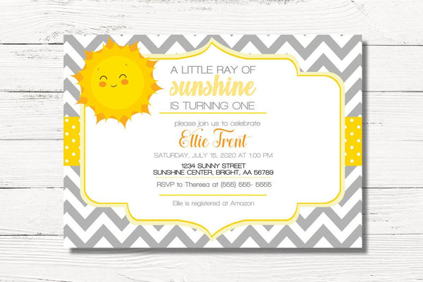 Sunshine Birthday Invitation, You Are My Sunshine Birthday Invite, Summer Birthday Invitation, First Birthday Party, C139
