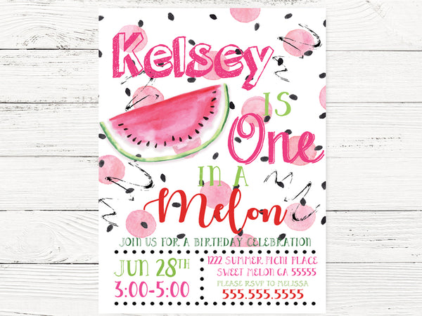 Watermelon First Birthday Invitation
