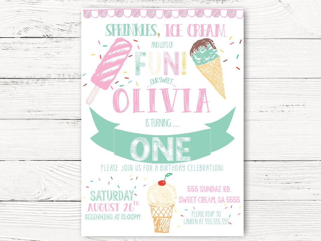 Digital Ice Cream Birthday Invitation Girl First Birthday