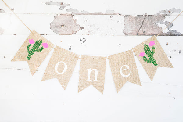 Cactus One Banner for First Birthday Party Decoration