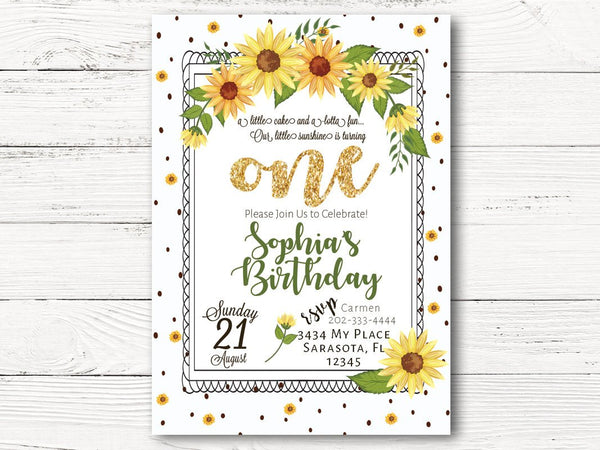 Digital Sunflower 1st Birthday Invitations
