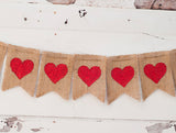 Valentine's Decor, Red Hearts Banner