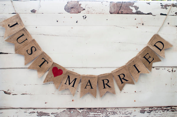 Wedding Decor, Just Married Banner