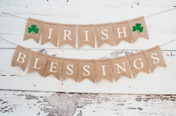 St. Patrick's Day Decor, Irish Blessings Banner