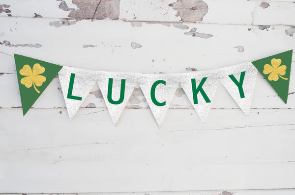 St. Patrick's Day Decor, Cardstock Lucky Banner