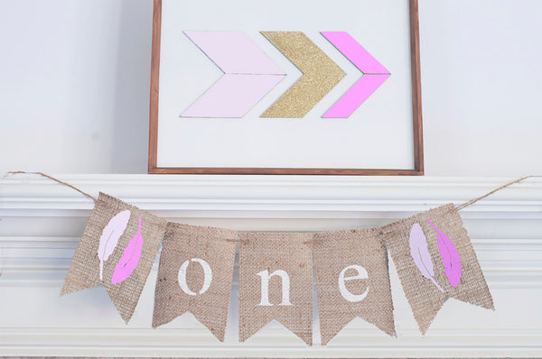 Feathers One Banner | Tribal First Birthday Party Decorations