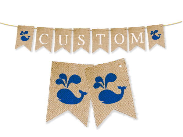 Custom Nautical Decor, Whale Personalized Banner