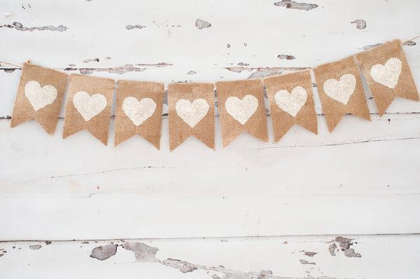 Wedding Decor, White Hearts Banner