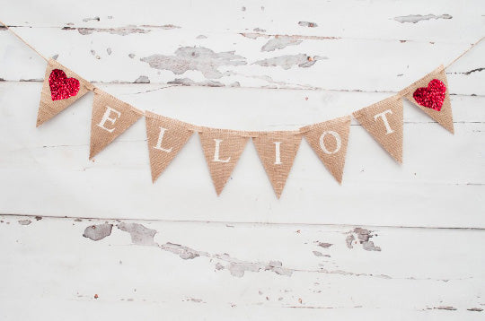 Baby Shower Decor, Personalized Triangle Heart Banner