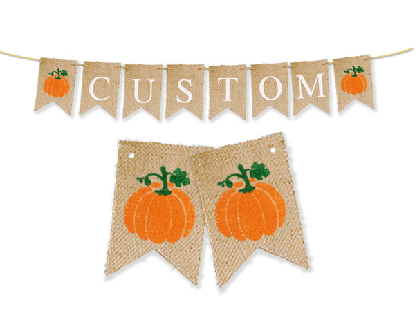 Custom Fall Birthday Decor, Personalized Pumpkin Banner