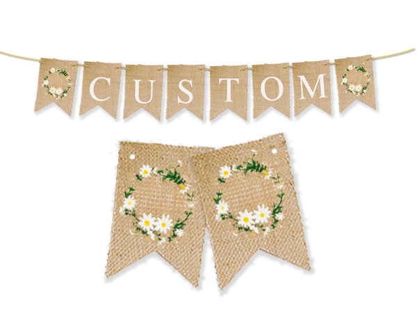 Custom Floral Wreath Decor, Personalized Banner