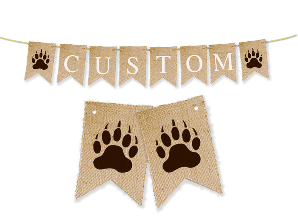 Custom Lumberjack Decor, Bear Paw Personalized Banner