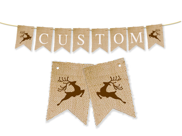 Custom Christmas Decor, Reindeer Personalized Banner
