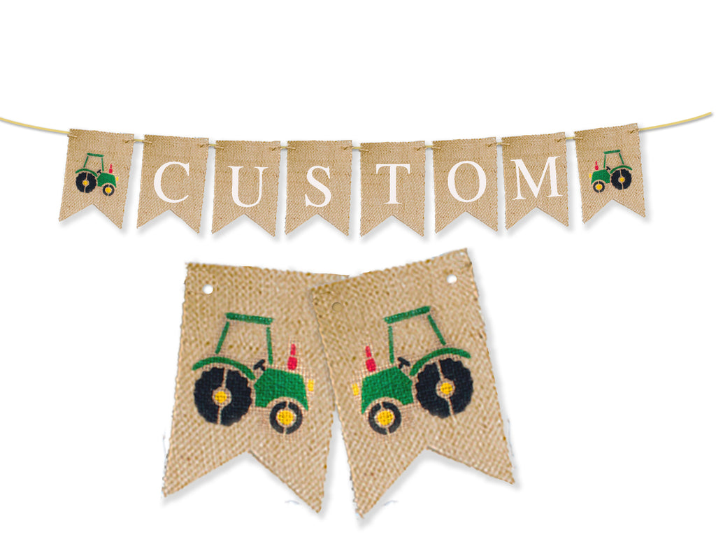 Custom Construction Decor, Tractor Personalized Banner, Farm Birthday Party