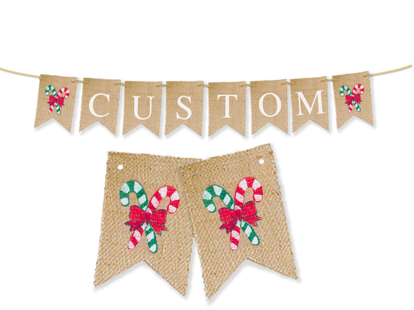 Custom Christmas Decor, Candy Cane Personalized Banner