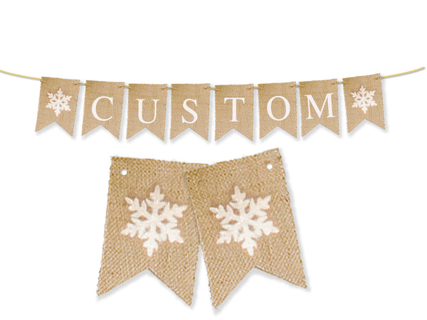 Custom Christmas Decor, Snowflake Personalized Banner