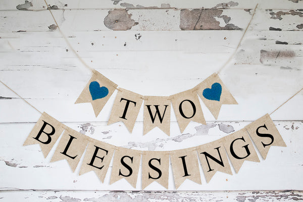 Religious Baby Shower Decor, Two Blessings Banner