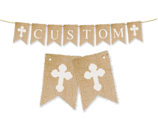 Custom Cross Banner | White Cross Name Banner, Religious Party Decor