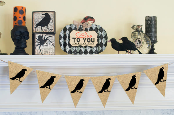 Halloween Decor, Crow Banner