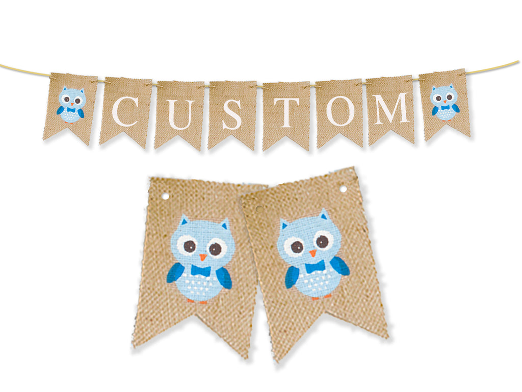 Custom Owl Decor, Blue Owl Personalized Banner