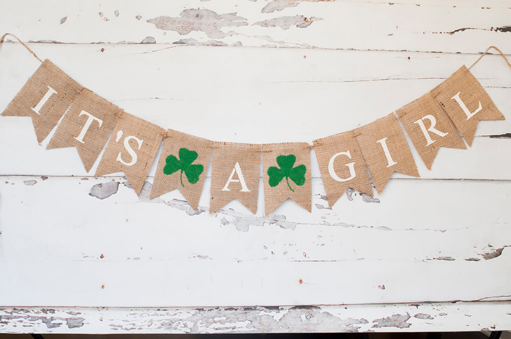 St. Patrick's Day Baby Shower Decor, It's A Girl Clover Banner
