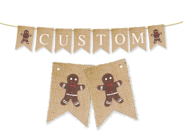 Custom Christmas Decor, Gingerbread Personalized Banner