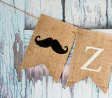 Baby Shower Decor, Personalized Mustache Banner