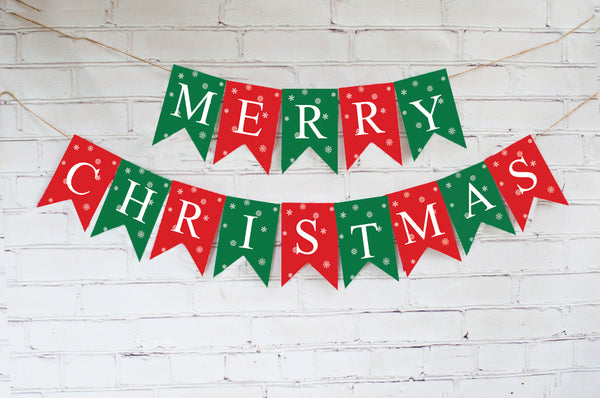Christmas Decor, Red & Green Merry Christmas Banner