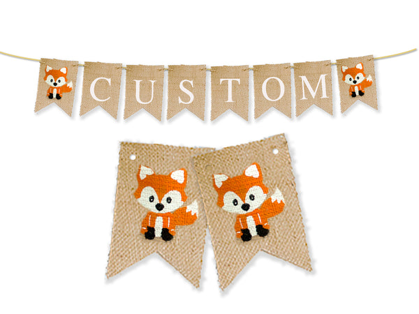 Personalized Fox Banner | Custom Woodland Party Decor