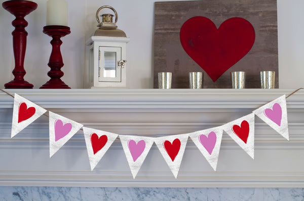 Valentine's Decor, Cardstock Pink and Red Rustic White Butterfly Hearts Banner