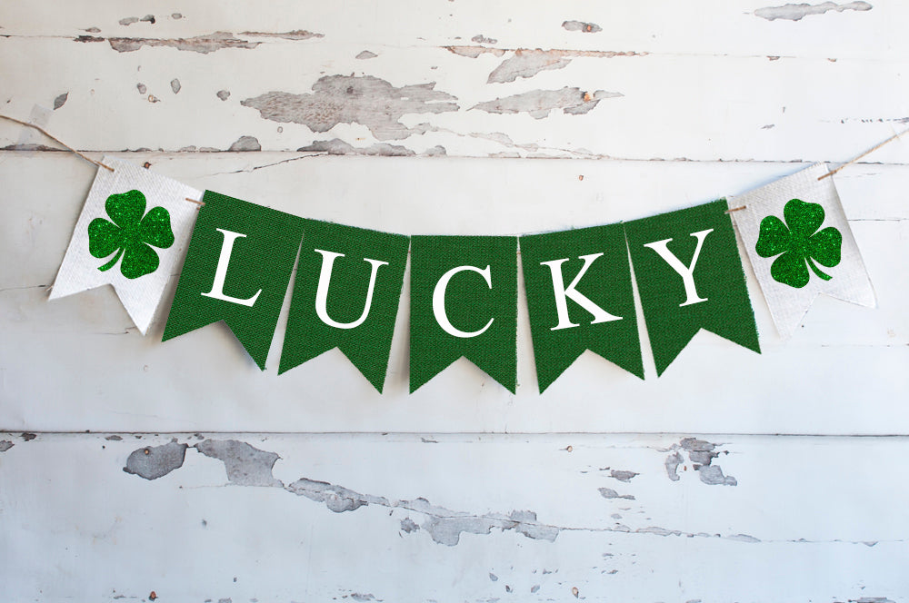Cardstock St. Patrick's Day Decor, Lucky Rustic Green Banner