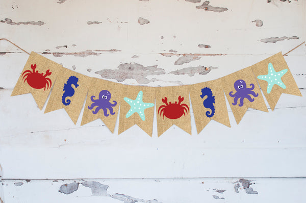 Under The Sea Decor, Cardstock Beach Sea Animals Banner