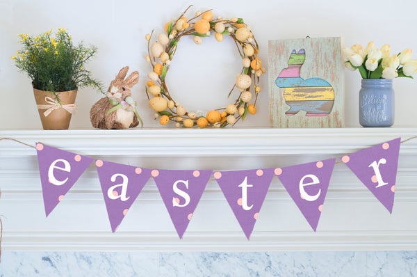 Easter Decor, Cardstock Lavender Easter Banner
