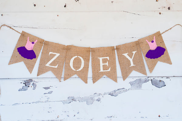 Ballerina Decor, Ballet TuTu Personalized Banner