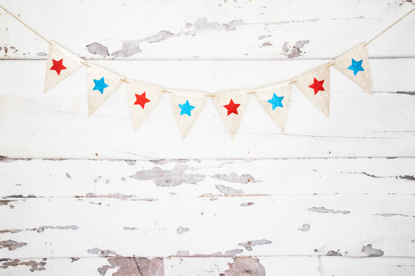4th of July Decor, Red & Blue Stars Rustic White Banner