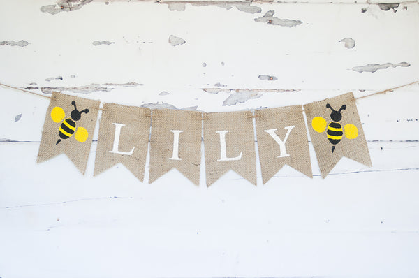 Custom Bumble Bee Decor, Personalized Banner