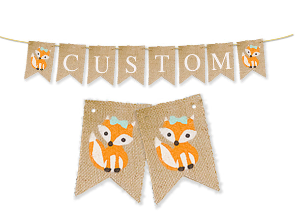 Personalized Girl Fox Banner | Custom Woodland Birthday Party Decorations