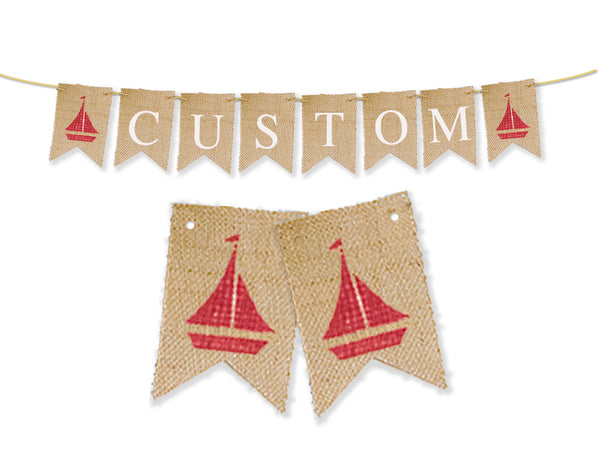 Custom Nautical Decor | Red Sailboat Personalized Banner