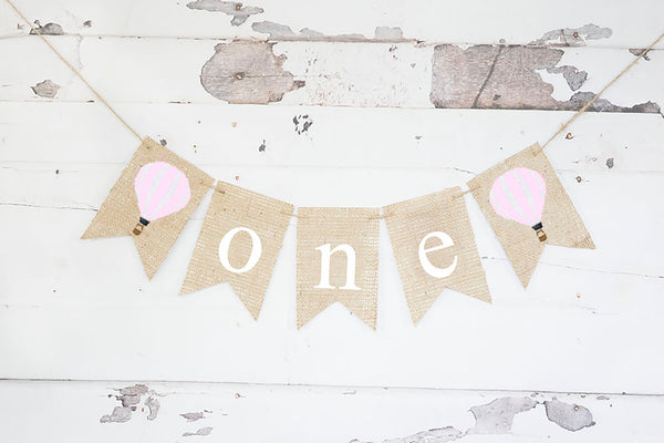 Pink Hot Air Balloon One Banner | Up Up and Away First Birthday Party Decorations