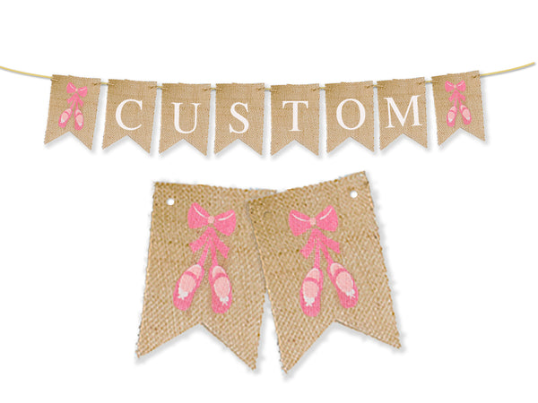 Custom Ballerina Decor, Ballet Shoes Personalized Banner