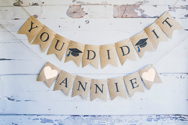 Graduation Decor, Personalized You Did It Banner