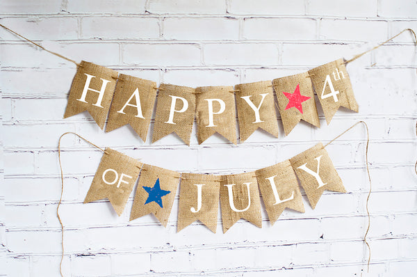 4th of July Decor, Happy 4th of July Banner