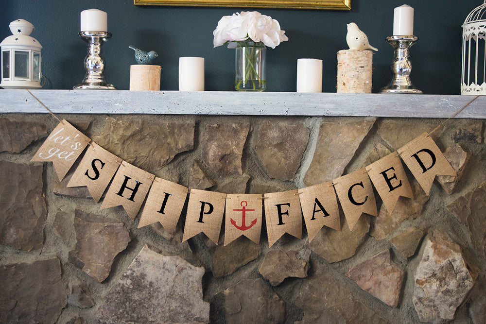 Nautical Bachelorette Decor, Let's Get Ship Faced Banner